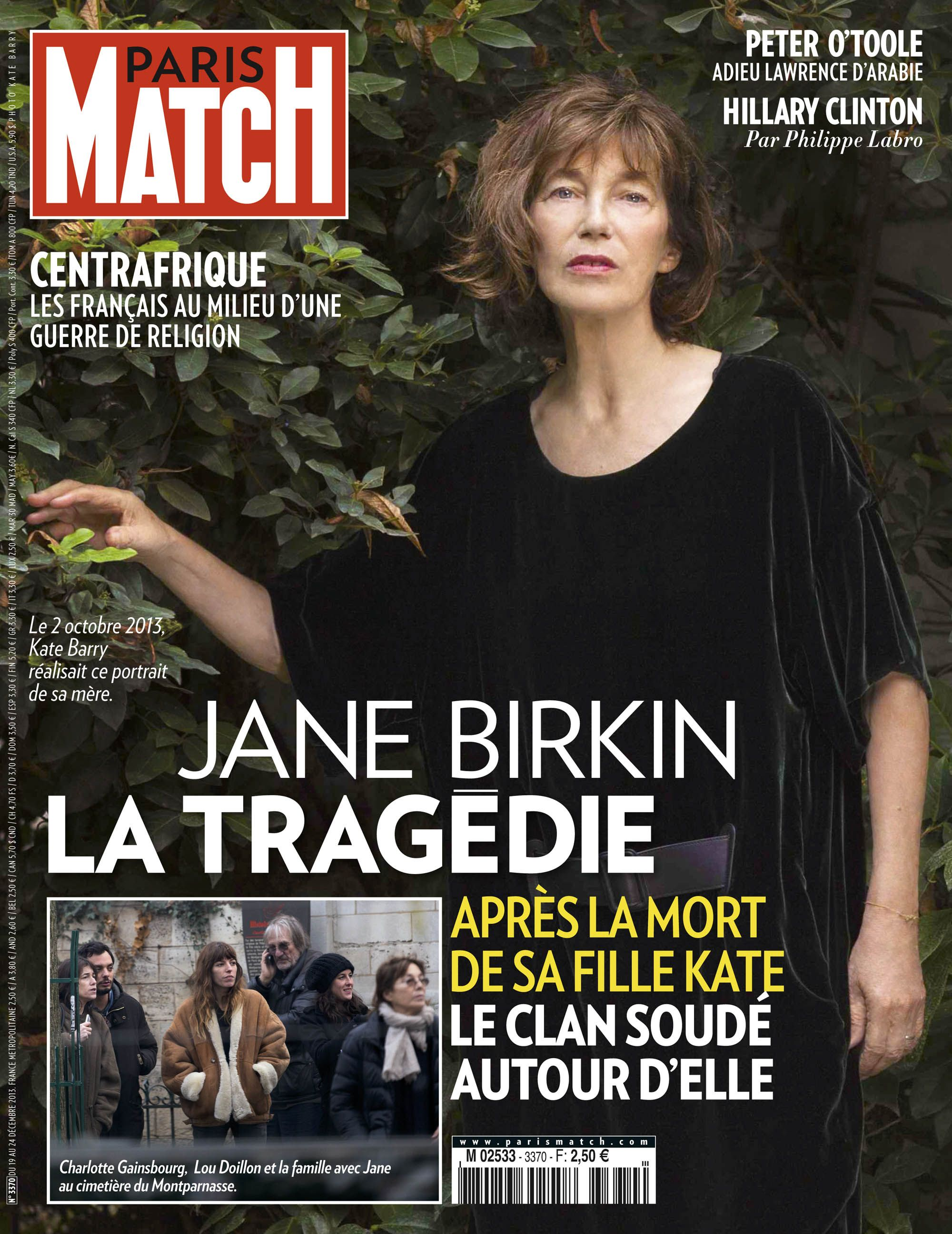 cette semaine dans paris match kate barry le chagrin du clan birkin sa mort r unit dans le. Black Bedroom Furniture Sets. Home Design Ideas