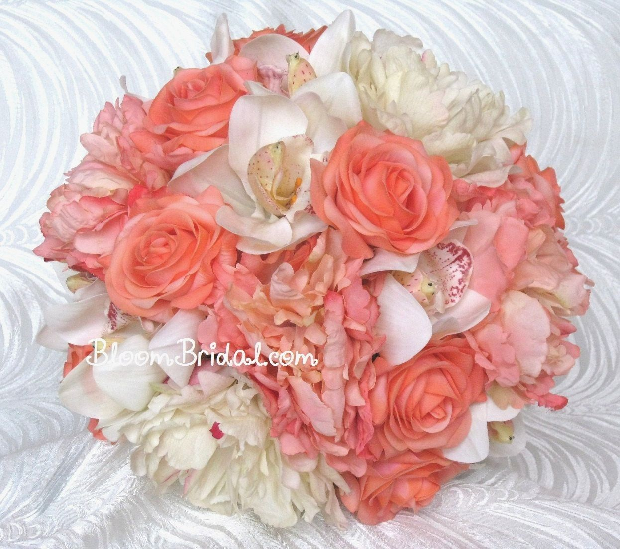 Peony Inspired Wedding Ideas: Peach Coral & Cream Orchids, Roses, And Peonies Bouquet