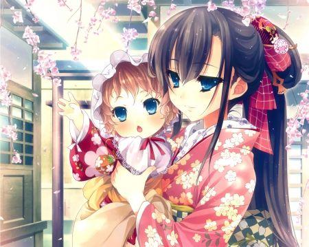 Cute Baby - mom, mummy, cute, parent, happy, love, adorable, baby, kawaii, female, girl, anime, blue eyes, nice, floral, hug, sweet, pretty, flower, mother, mum, anime girl, lovely, child, adore, long hair, kid