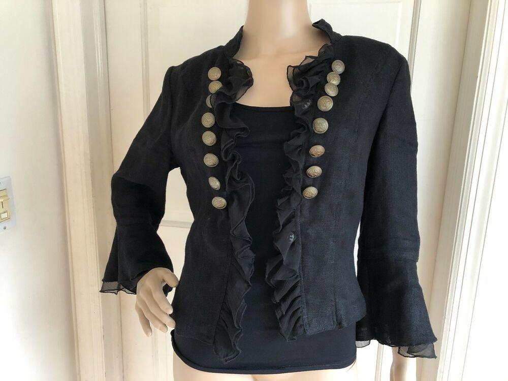 women little linen black jacket  fashion  clothing  shoes  accessories   womensclothing  coatsjacketsvests (ebay link) 57db6d31d