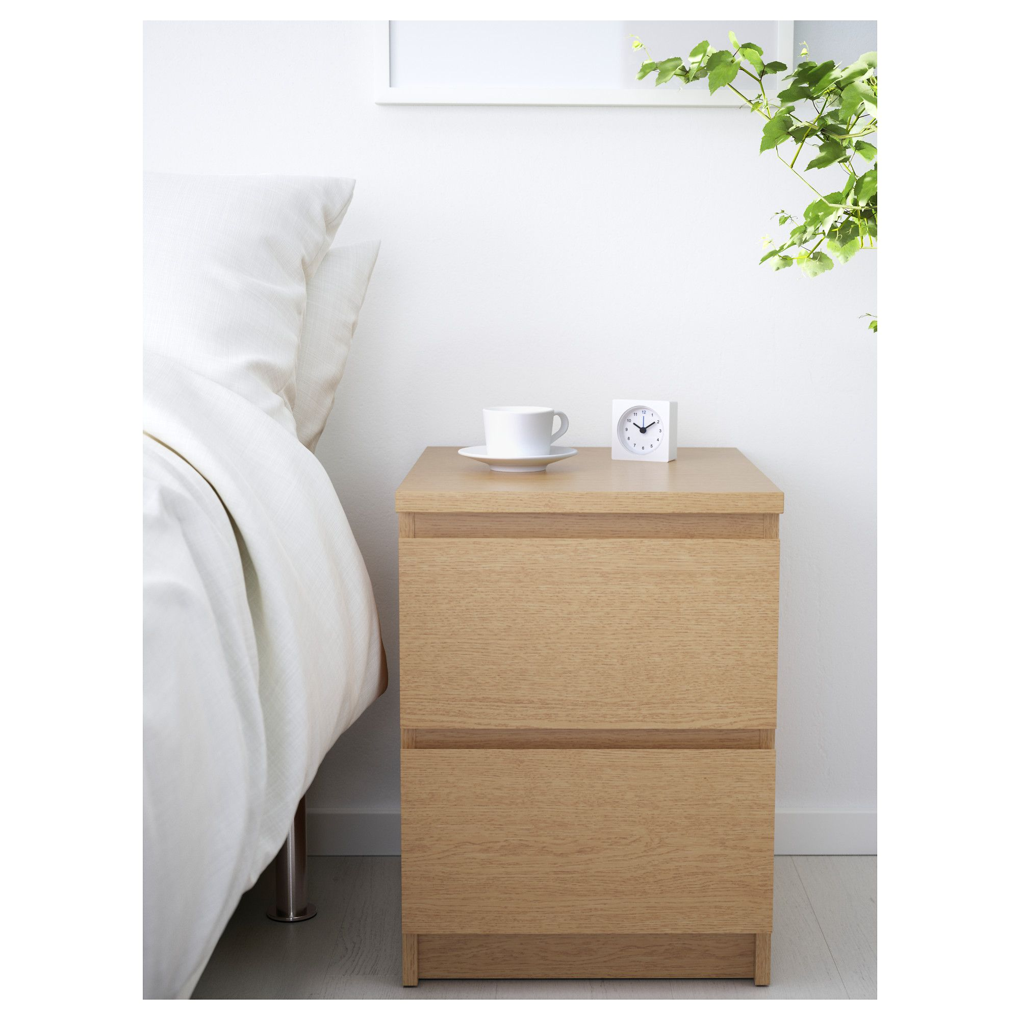 Oak Veneer Bedroom Furniture Malm Chest Of 2 Drawers Oak Veneer 40x55 Cm Drawers Furniture