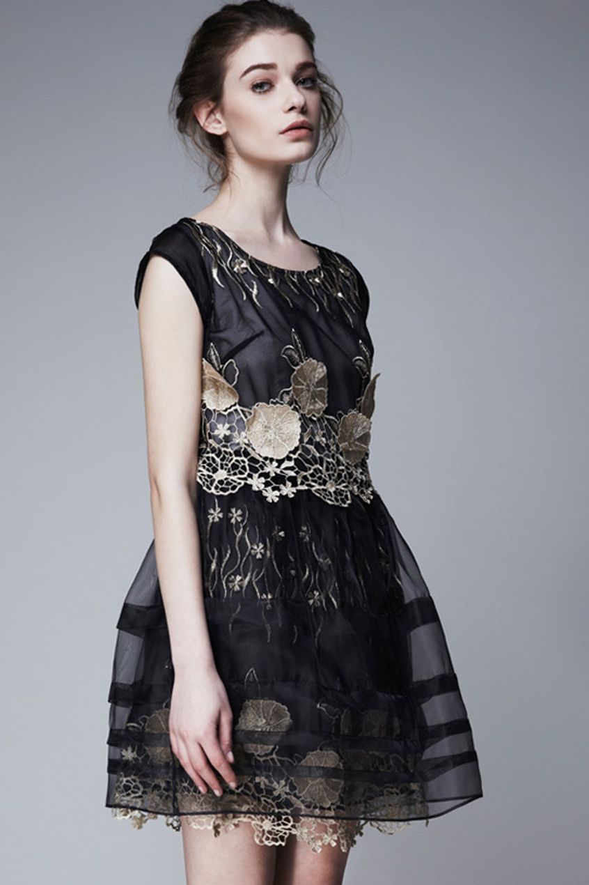 Embroidered applique Black Dress #Romwe