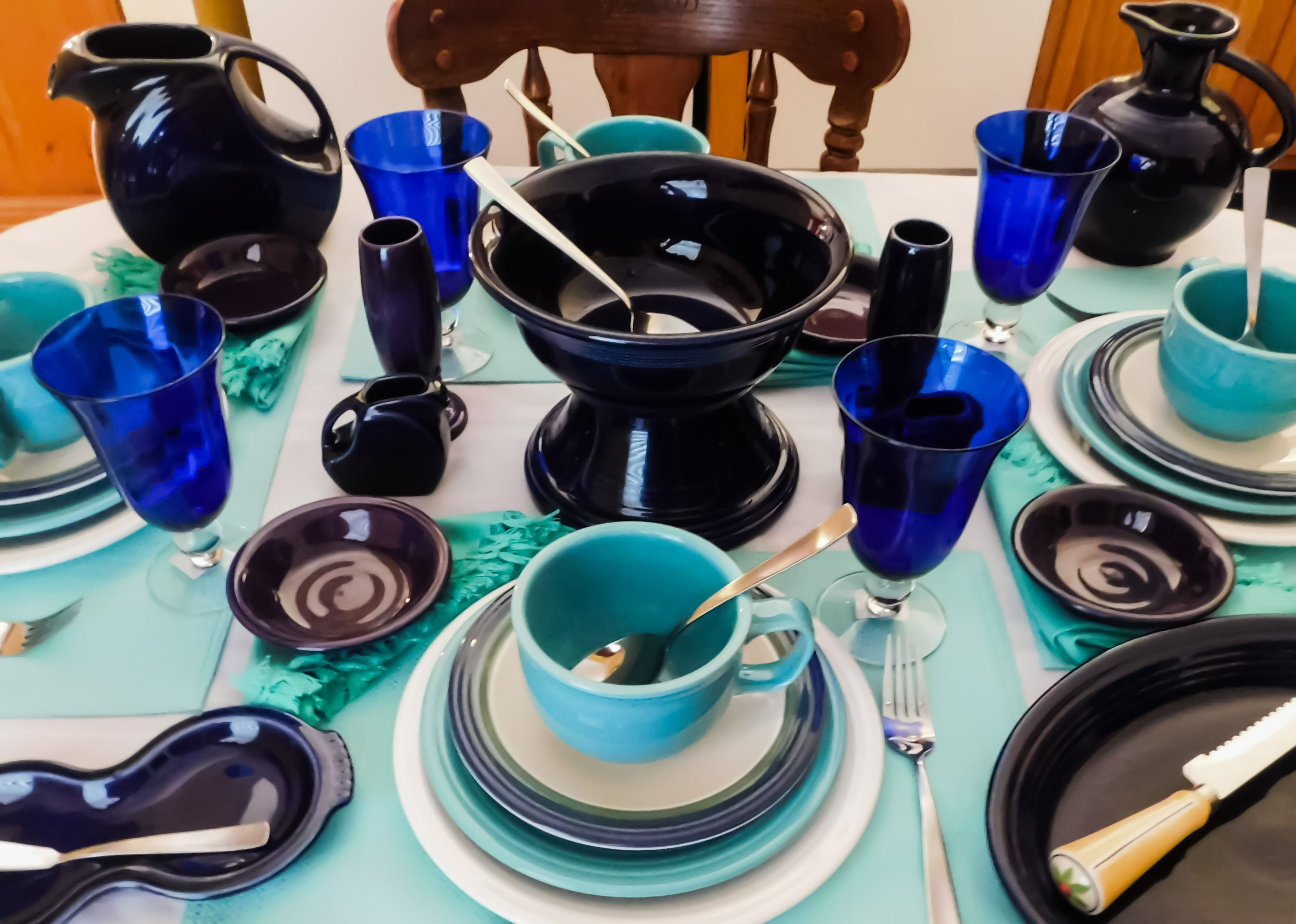 Winter Wonderland  tablescape of Fiesta® Colors Cobalt Blue Turquoise White + Pfaltzgraff Ocean Breeze salad plates.   & Winter Wonderland