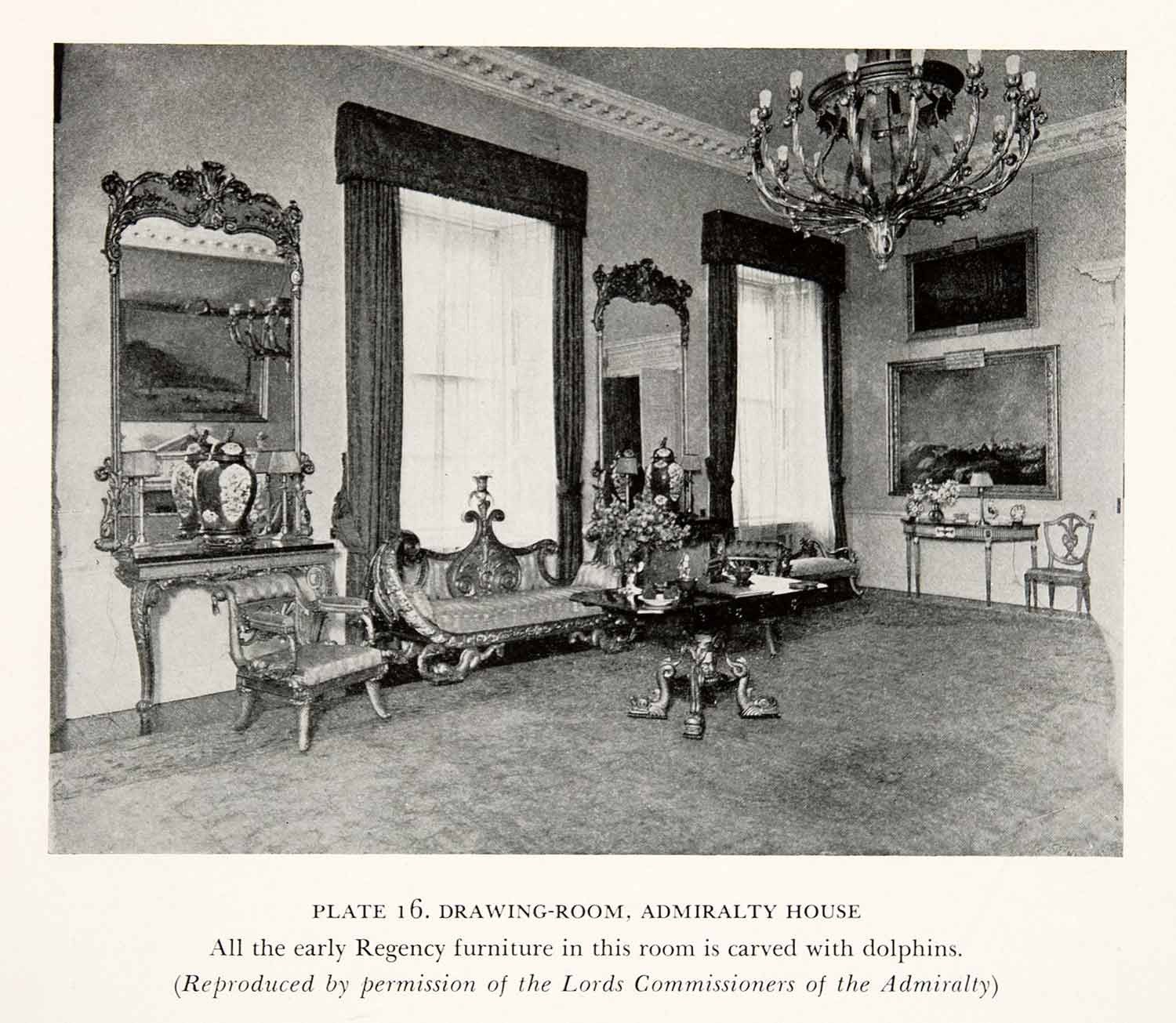 1939 Print Admiralty House London England Residence Regency