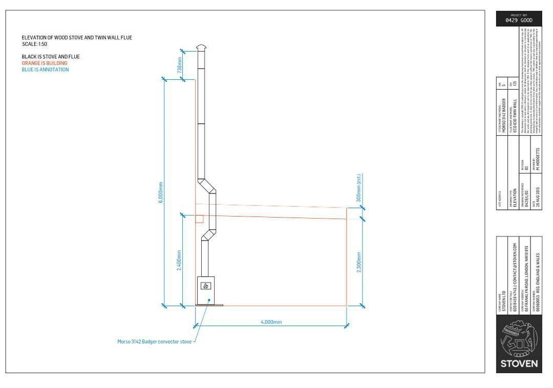 Wood Elevation Uk : Our autocad elevation of twinwallflue for the new