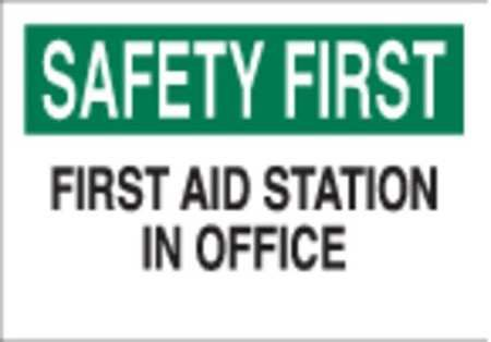 "Brady 41213 First Aid Sign,10X14"",grn And Bk/wht"