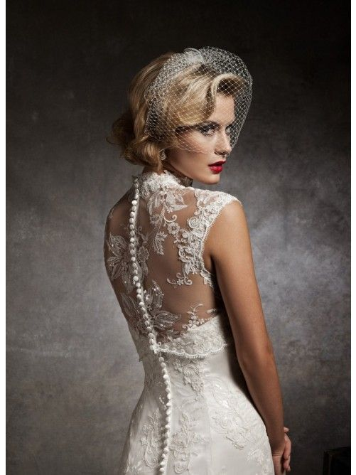 Cool Mermaid Trumpet Halter Neck Embroidery Court Train Lace Wedding Dresses back