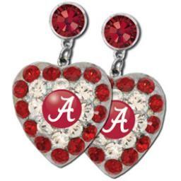 Alabama Crimson Tide Heart of a Fan Dangle Earrings at End Zone Apparel