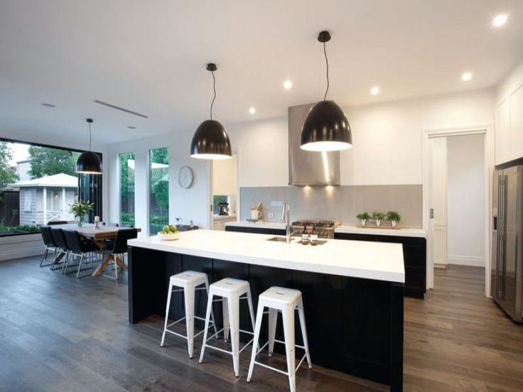 image result for black and white kitchen wooden floor kitchens