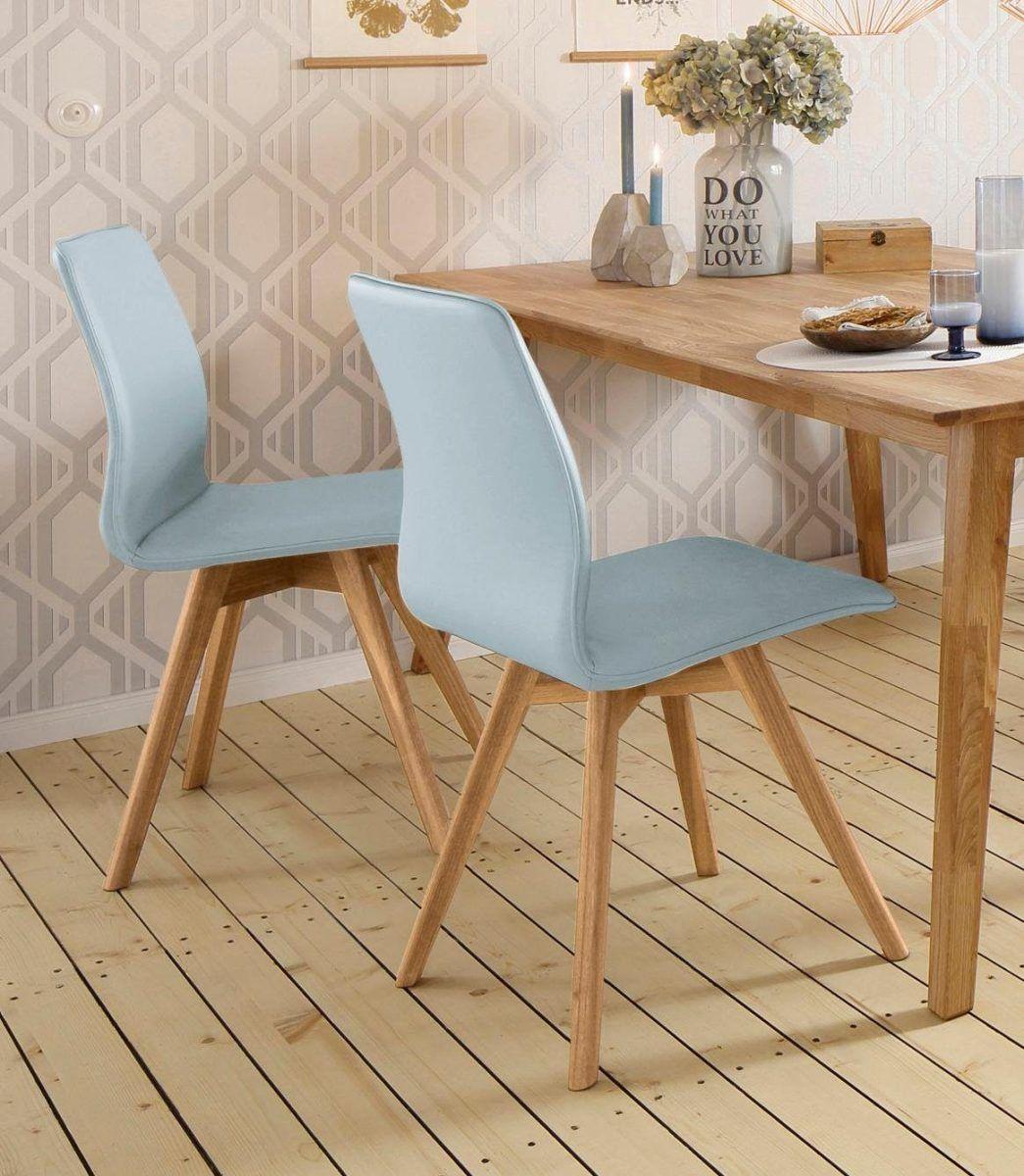 ANDAS Stühle Rania blau 2er Set Luxus Microfaser Beine Eiche