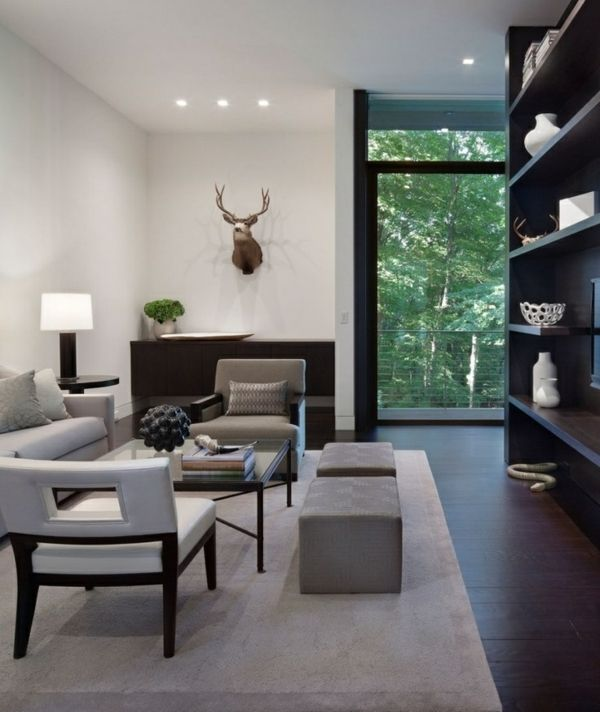Wohnzimmer Grau Weiss Dunkel Holz Bodenbelag