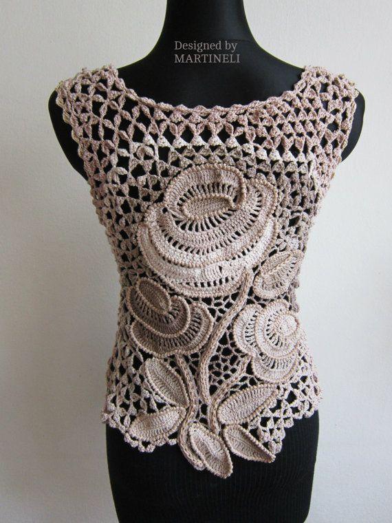 Ivory Cream Crochet Top Irish Crochet Freeform por MARTINELI