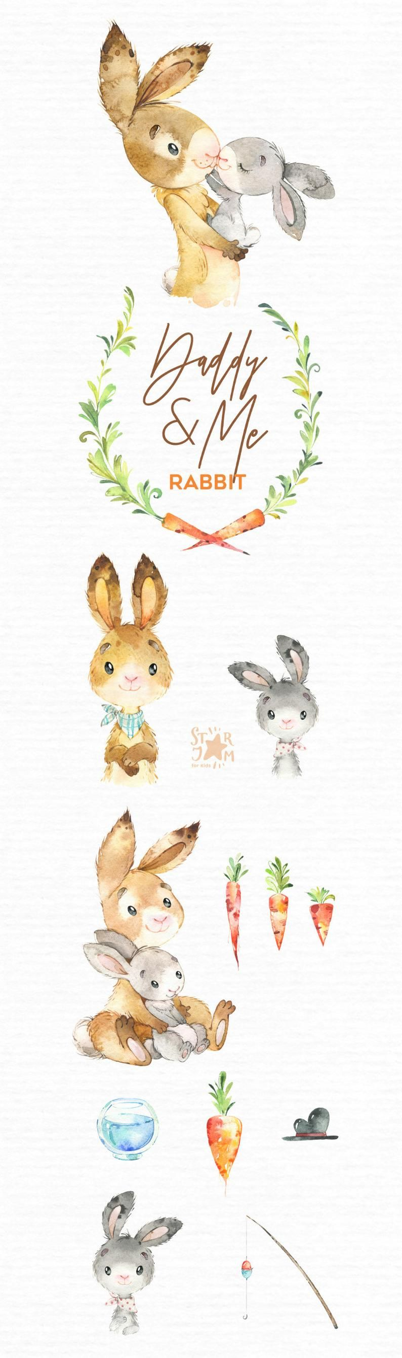 Daddy Me Rabbit Watercolor Animals Clipart Father Hugs Family Hare Bunny Father S Day Floral Carrot Wreath Baby Shower Nursery In 2021 Watercolor Animals Animal Clipart Cartoon Clip Art