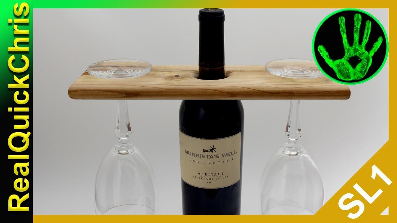 Easy Diy Wooden Wine Bottle Glass Holder Wine Bottle Glass