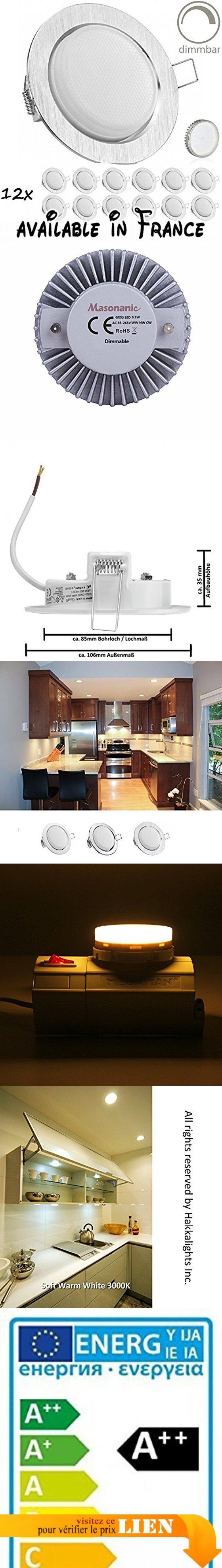 Set Spots Encastrables LED extra plat en argent brossé avec lampe