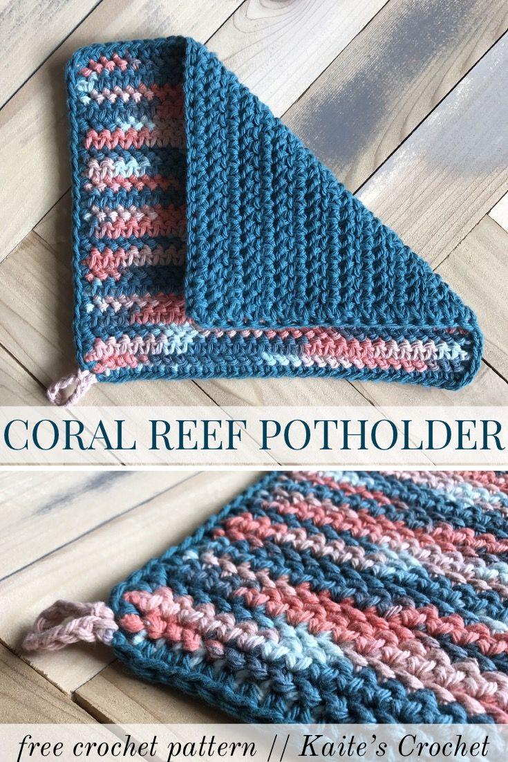 Coral Reef Potholder – kaite's crochet #crochetpotholderpatterns