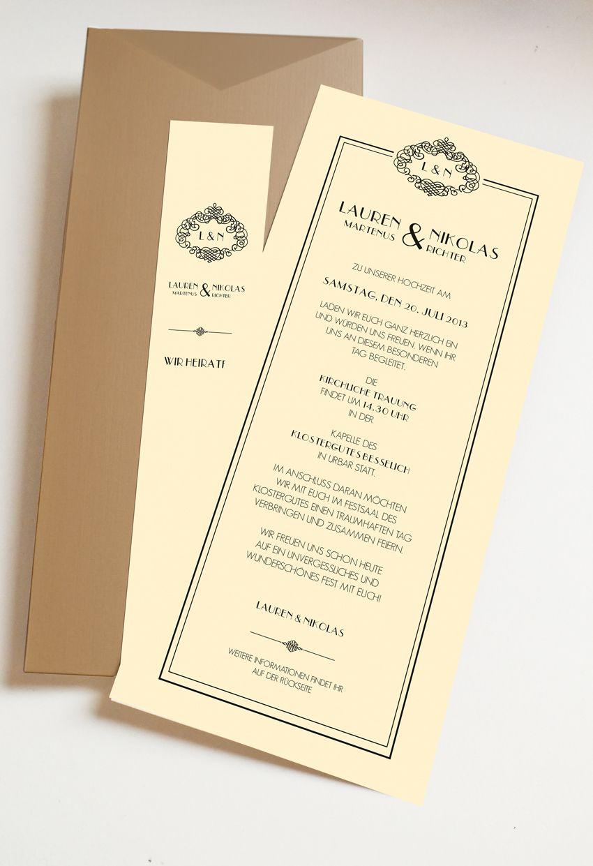 Hochzeitseinladung mit Einschubkarte taschenkarte zum Thema