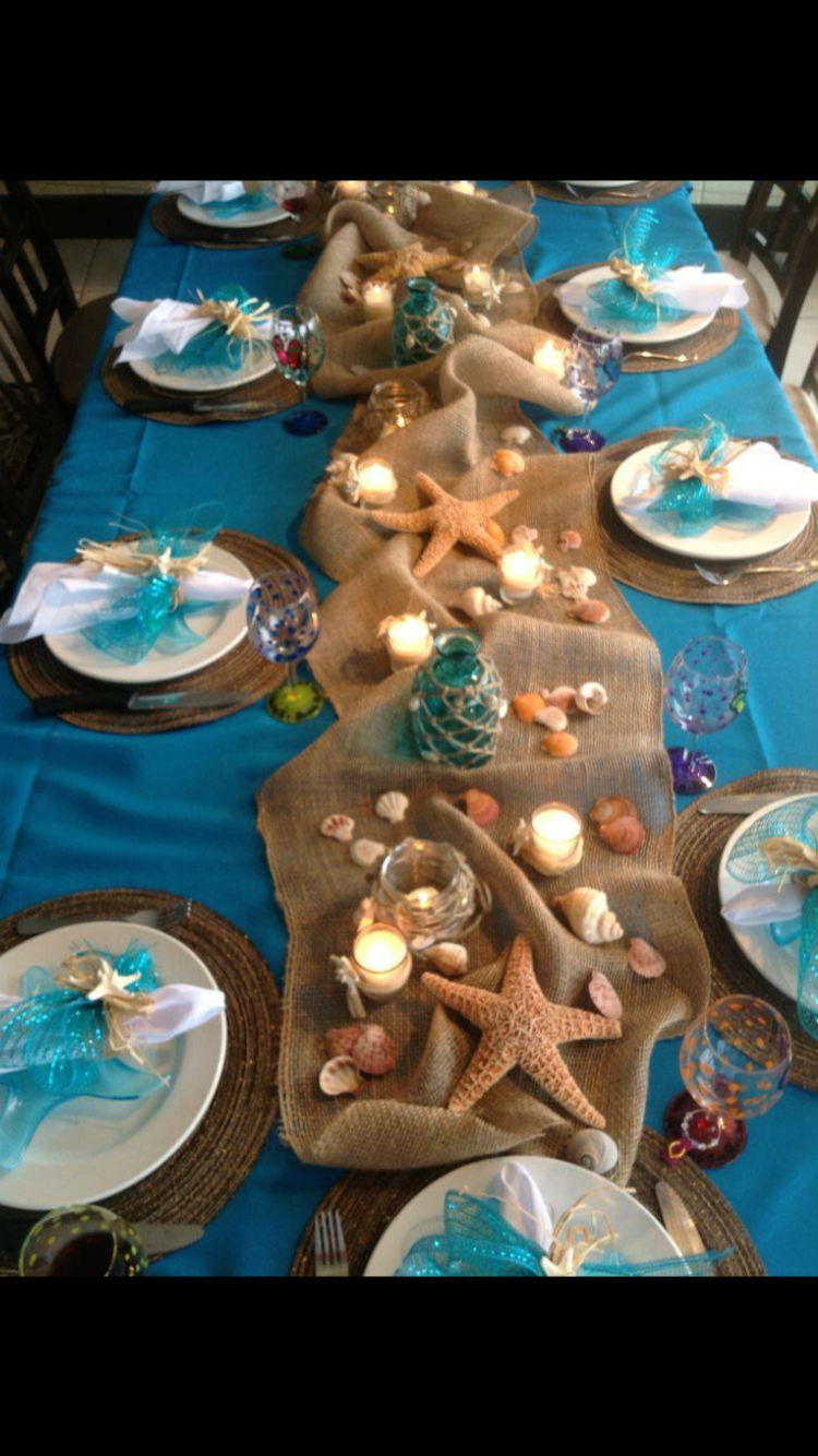 Beach themed tablescape Beach themed party, Beach bridal