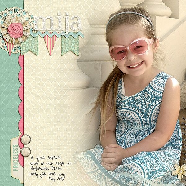 """Layout: mija by lisareid  Template: May 2013 Blog Challenge Template  Reasons CTM Loves: """"I love the soft and serene colors. The blending work is phenomenal - she chose a paper with a similar tone to the photo's background and they blend seamlessly together."""""""