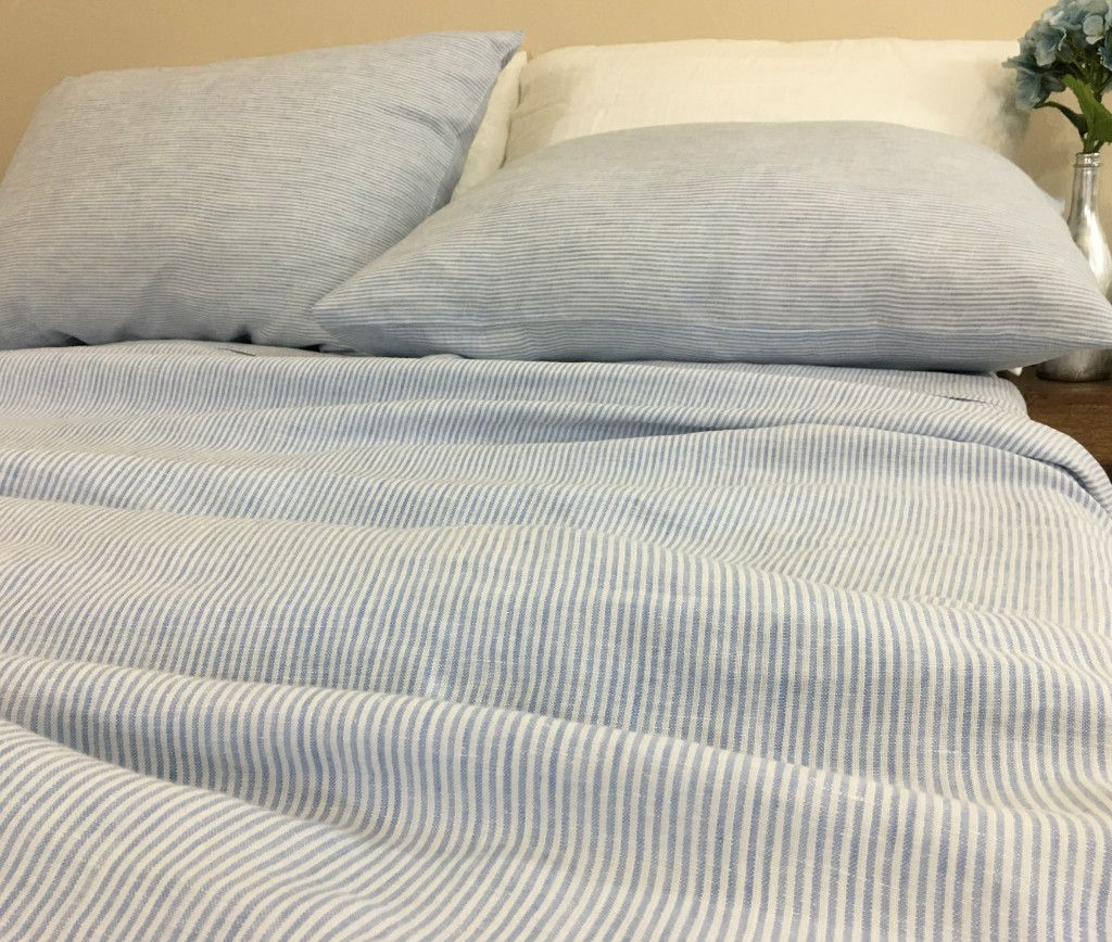 Blue And White Ticking Striped Bed Sheets Set Ticking Stripe Bedding Striped Bed Sheets Striped Bedding