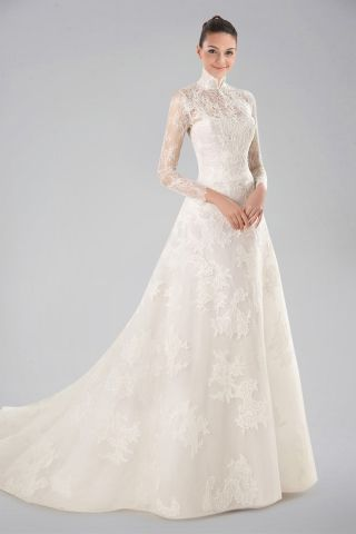 7d9f4a503b4e7 Stunning High Collar Wedding Dress with Lace Overlay and Long Sleeves