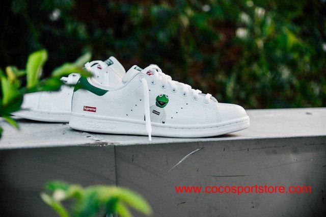 37eb7e180b4f83 adidas Stan Smith x Supreme frog S76968 White Green Womens Stylish Shoes