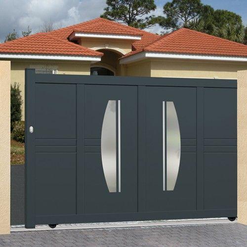 Portail coulissant alu plein droit houston maison maman portail portail aluminium - Portail maison moderne ...