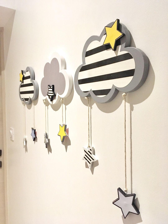 Décoration chambre enfant bébé mobile 18 nuages étoile : Décoration