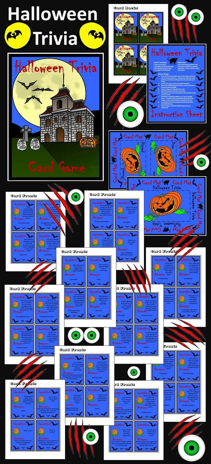 Halloween Games Activities Halloween Trivia Card Game