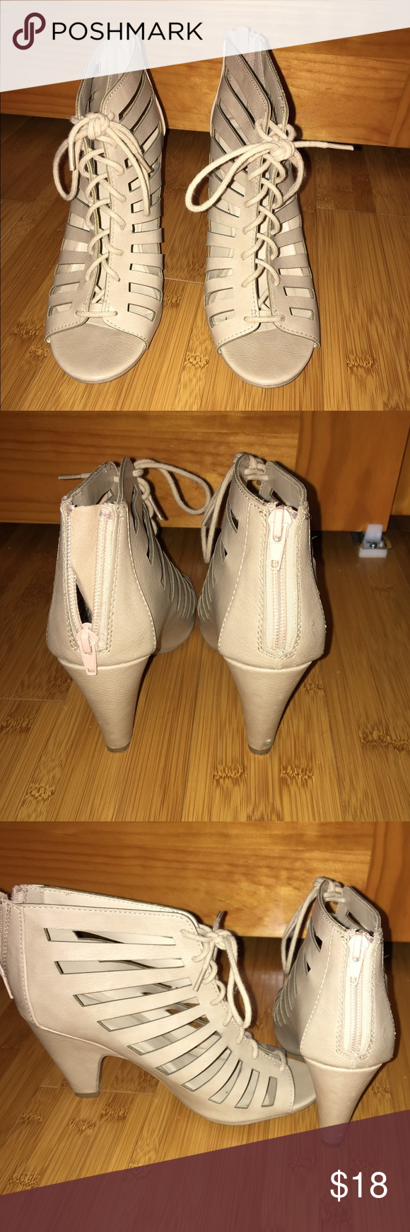 Lace Up Heels Size 8. Tan. Lace up front but zipper in the back is actual way of securing them. From Charlotte Russe. No box or receipt. Used twice before. Does have some scuffing--if you want pictures let me know! Perfect with jeans for spring! Charlotte Russe Shoes Heels