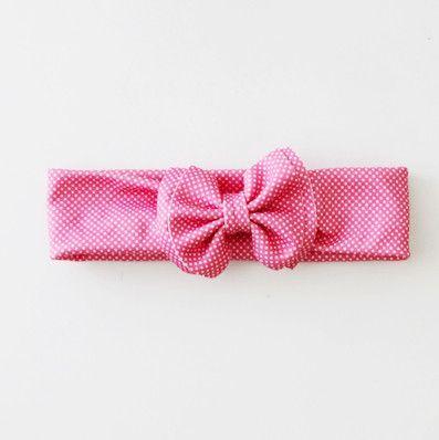 Jersey Bow Headband - Pink
