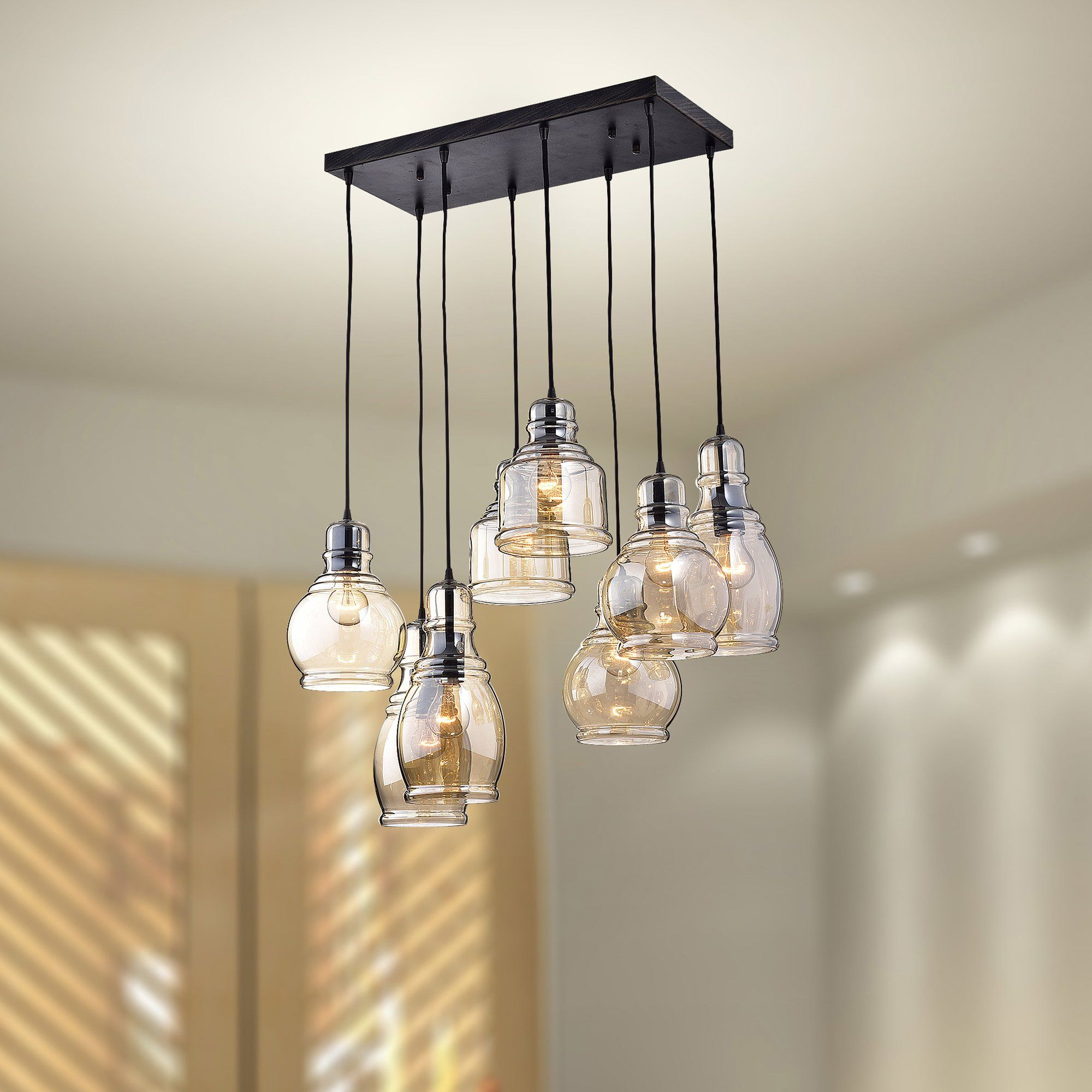 Mariana Cognac Glass 8Light Cascade Pendant Glass
