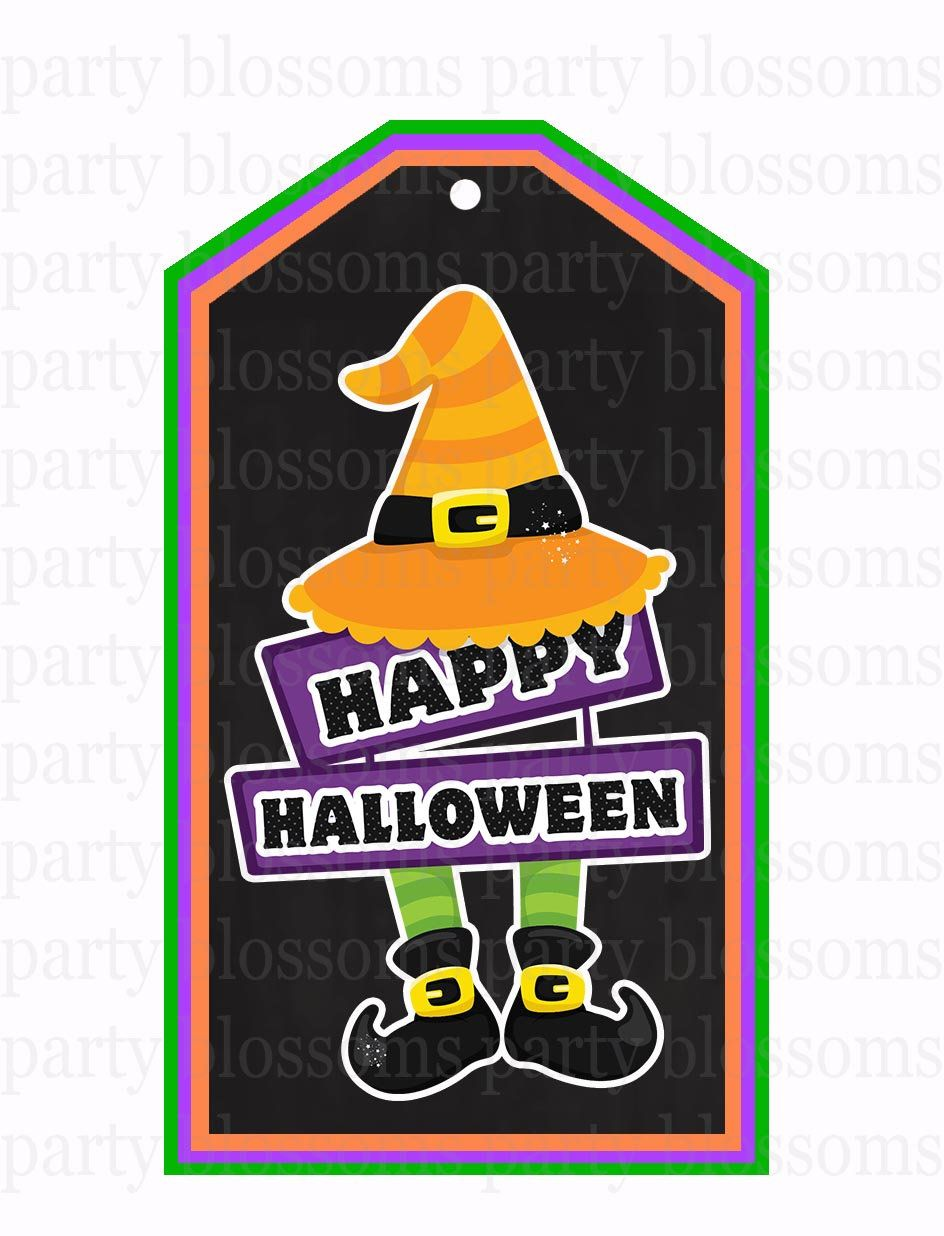 Instant Halloween Witch Tag Ready to print Happy Halloween