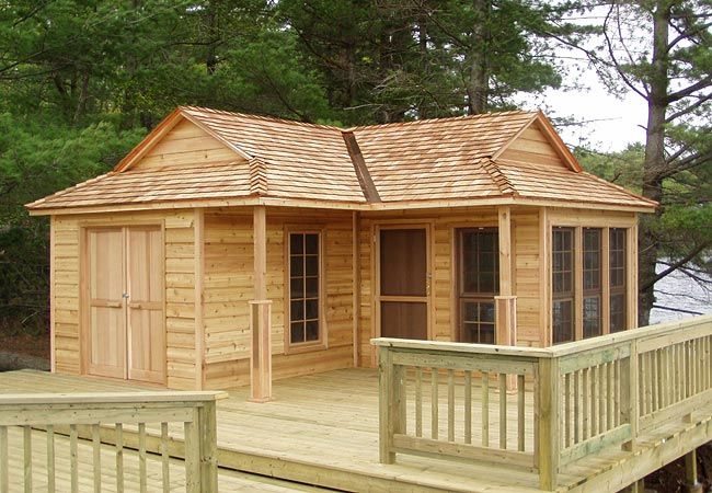 This is a simple cabin 12 by 18 feet you can build from a for Easy cabin kits