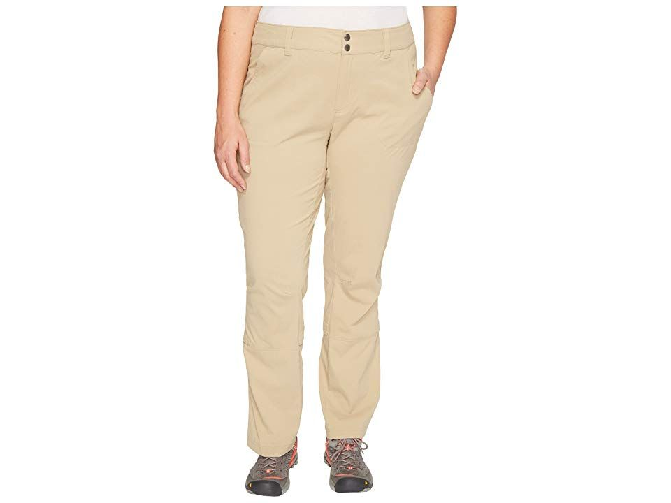 Columbia Plus Size Saturday Trail Pants British Tan Womens Casual Pants A perfect goto hiking pant for hitting the trail or making a quick stop intown Active fit features...