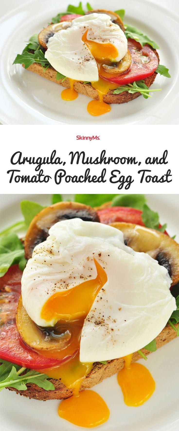 Arugula, Mushroom, and Tomato Poached Egg Toast