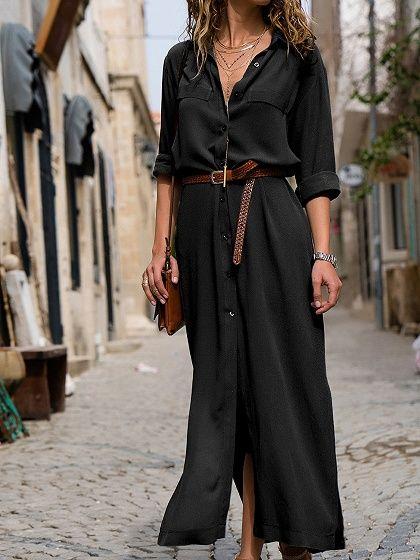 Black V neck Thigh Split Long Sleeve Chic Women Maxi Dress i