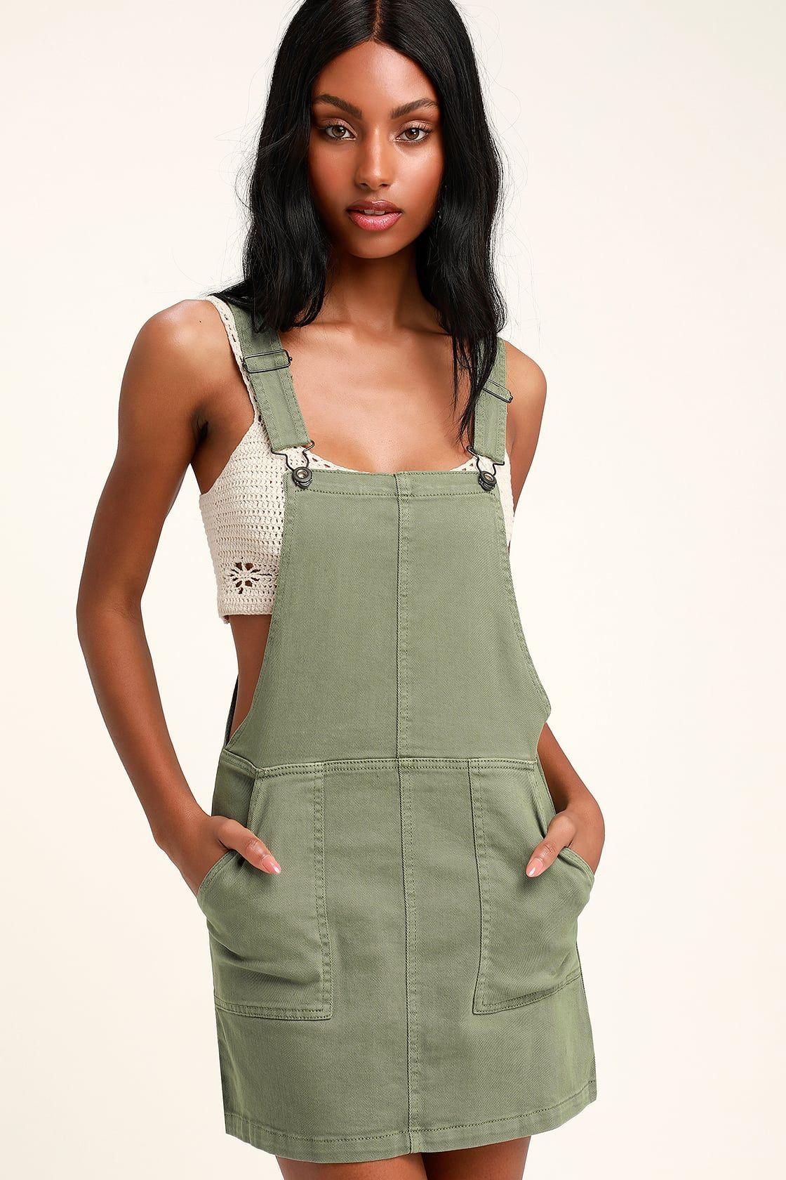 Abigail sage green denim overall dress denim overall