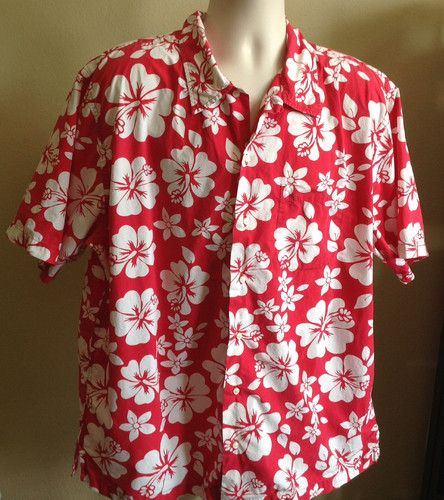 e23304f5 Lands End Hawaiian Shirt Men's Red & White Floral S/S 100% Cotton XL 17-17  1/2