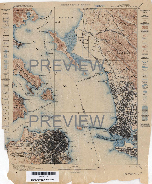 San Francisco Bay Area Map 1894 2 color scheme digital
