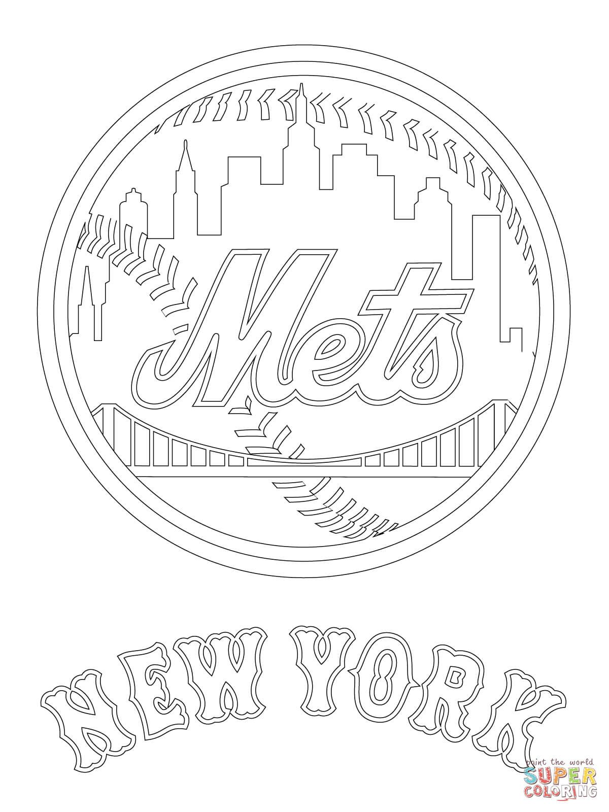New York Mets Logo Coloring Page From Mlb Category Select From 29032 Printable Crafts Of Ca New York Mets Logo Baseball Coloring Pages Detailed Coloring Pages