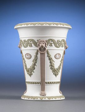 Tricolor wedgwood vase-lilac, green and ivory