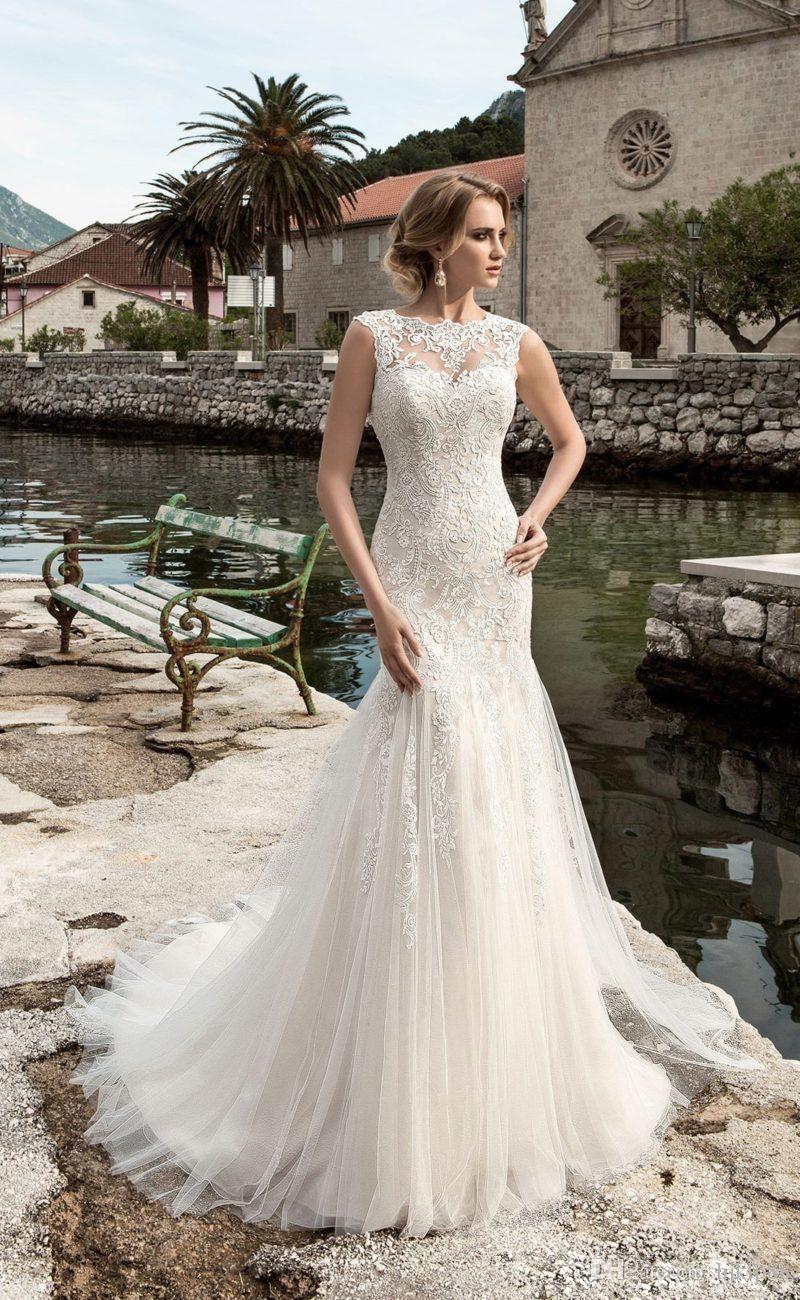 Full Lace Mermaid Wedding Dresses Sheer Neck Cap Sleeve Open Corset Back Bridal Gowns Custom Made Vintage Beach Wedding Gowns Mor Dugun Dugun Mor [ 1300 x 800 Pixel ]