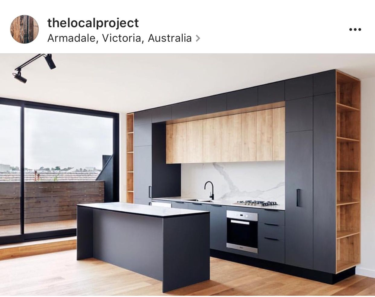 Contemporary kitchens, with black, white, and timber materials ...