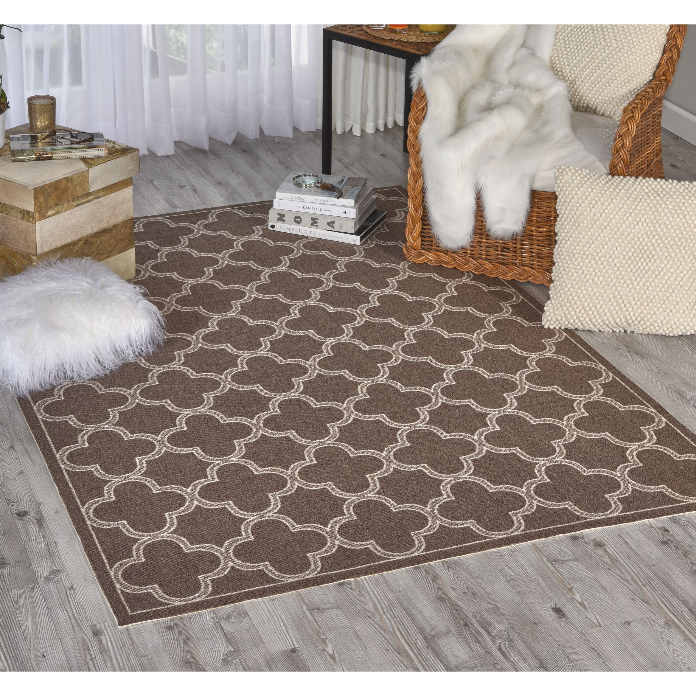 Waverly Sun N Shade Chocolate Indoor Outdoor Rug By Nourison 5 3