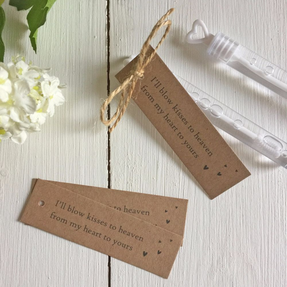 Details about 25 kraft bubble funeral favour tags ill