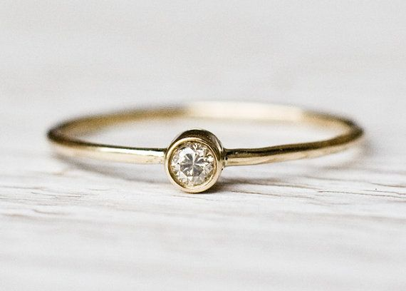 0.03Ct Diamond Engagement ring in 14k yellow gold, diamond wedding ring