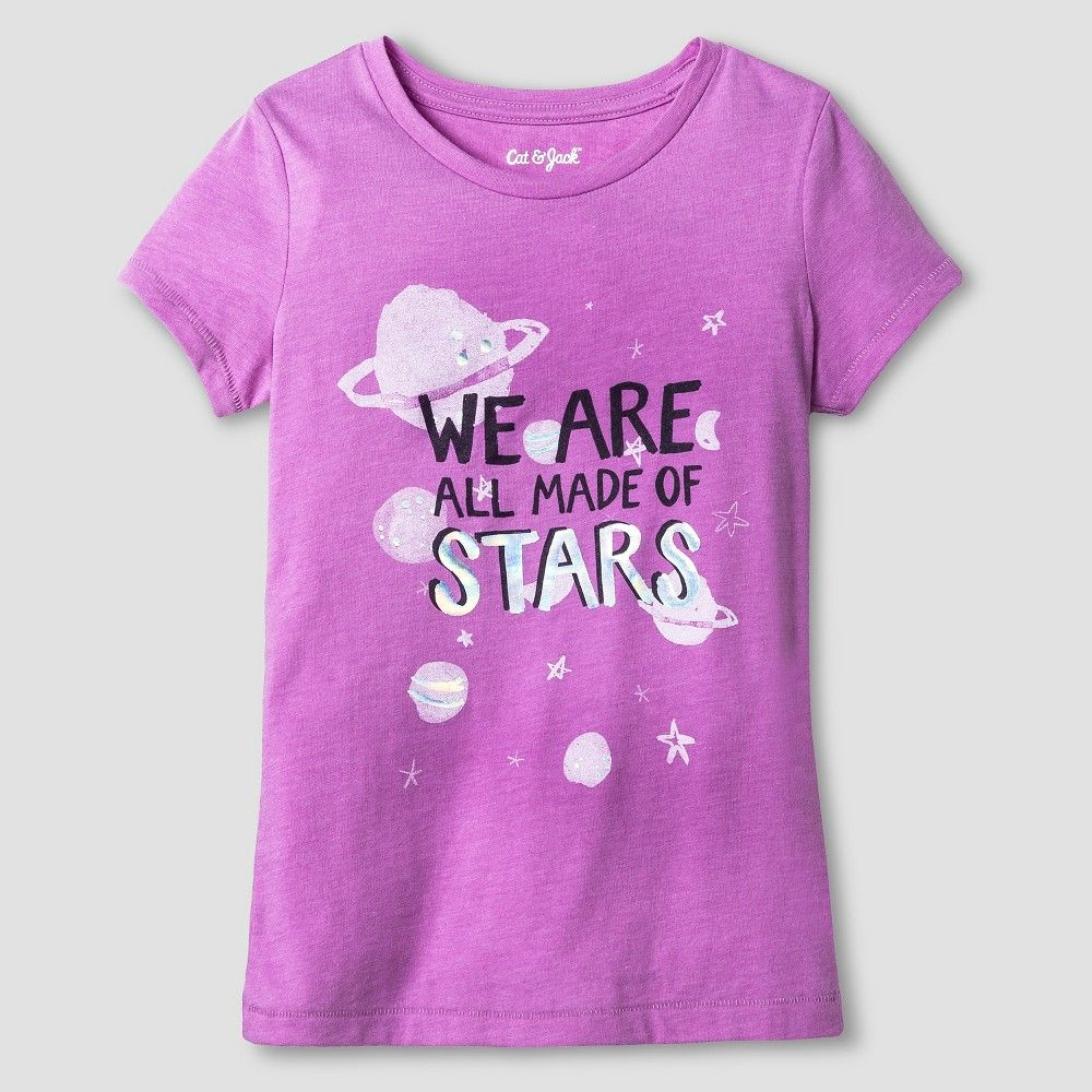 "Girls ""Space"" Graphic Tee Cat & Jack Violet L Girl s Purple"