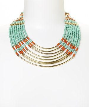 This Gold & Turquoise Beaded Multi-Row Necklace by Fantasy World Jewelry is perfect! #zulilyfinds