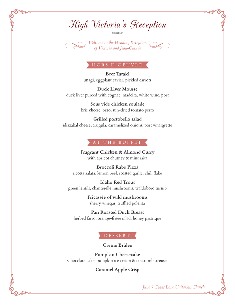 menu example | Menus | Pinterest